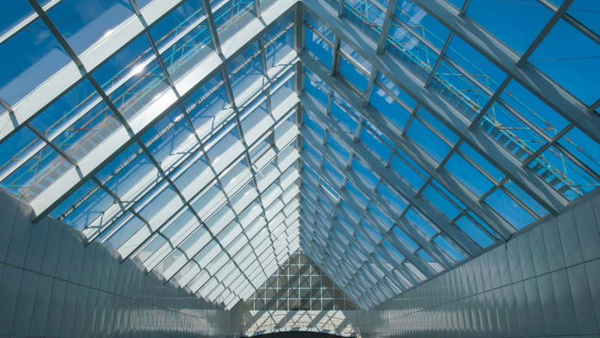 3 in 1 video! The construction of the roof in the business center. Wide angle. Time lapse