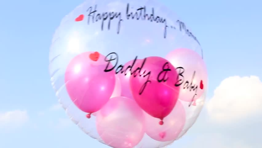 A Happy Birthday Balloon With Words Mommy From Daddy Baby Floating In Blue Sky The Is Clear Small Balloons Inside