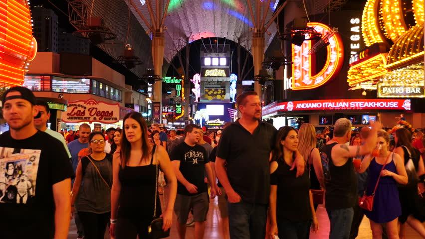 Busy Crowd on Fremont Street - Las Vegas - Circa July 2016