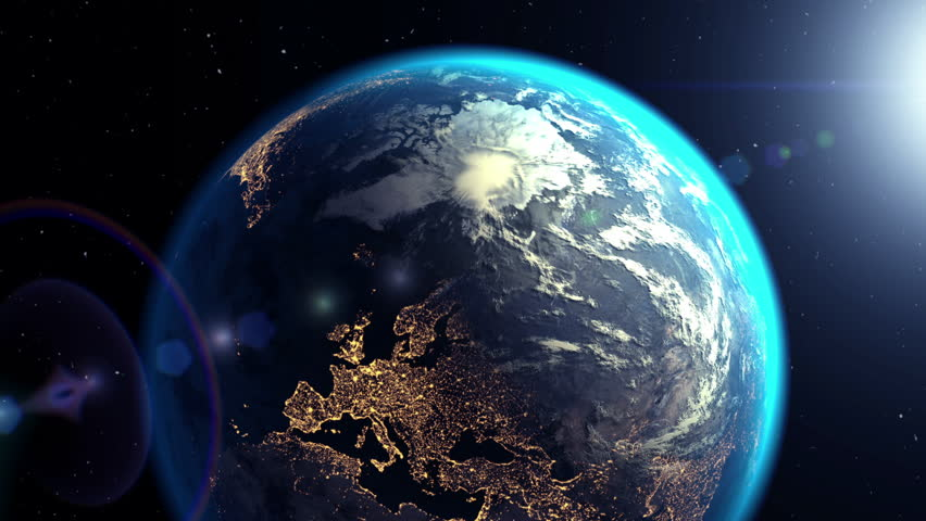 Camera flies out of sci-fi tunnel to the Earth, 3D animation. Texture of the Earth was created in the graphic editor without photos and other images. The pattern of the city lights furnished by NASA.