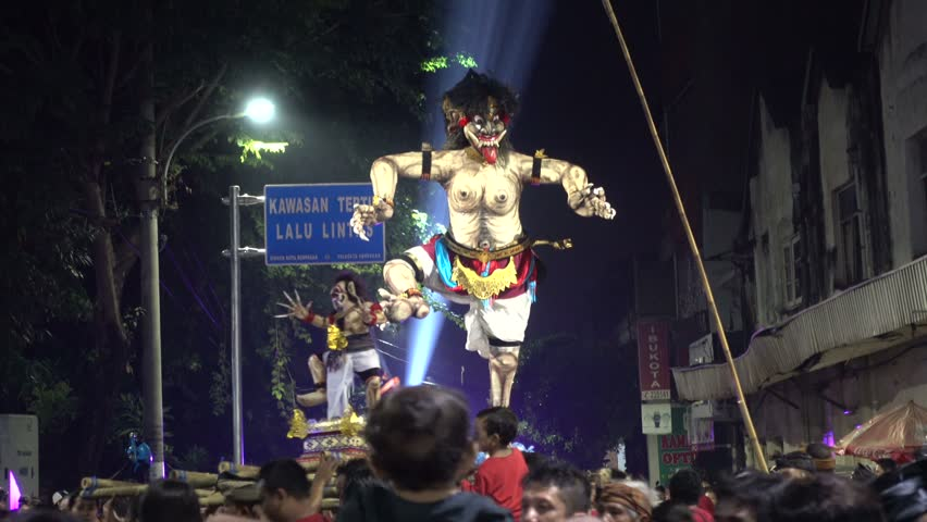 Ogoh-Ogoh parade preceding Nyepi in Denpasar Indonesia, 8th of March 2016 | Shutterstock HD Video #18114298