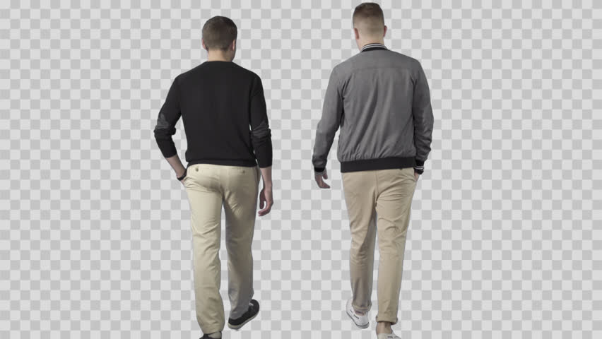 Two males in casual clothes are walking from the camera and talking. The camera is static. Lens 85 mm. Footage with alpha channel.