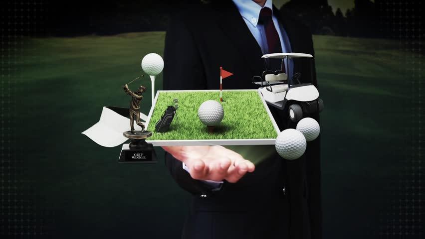 Businessman open palm, golf icon, golf bag, field, course, golf cart.golf clubs.