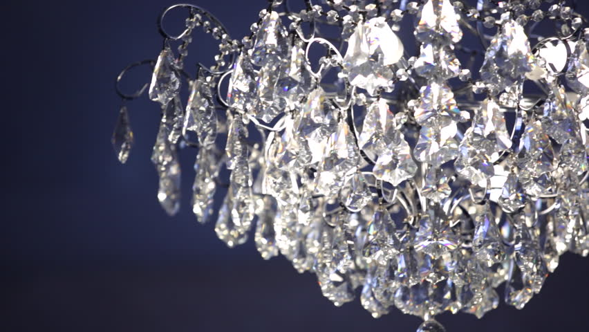 crystal lamp shade on a blue background