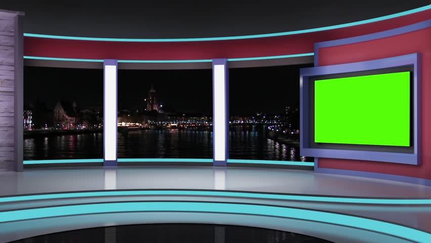 News Tv Studio Set Virtual Green Screen Background Loop