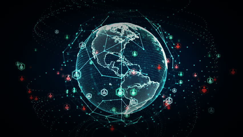 4K Digital World Networks of People Blue - A rendering of the earth conveying the digital age and global connectivity. This clip is available in multiple color options and loops seamlessly. | Shutterstock HD Video #18201913