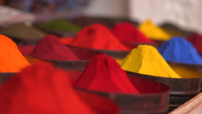 Vibrant piles of brightly colored dye in a Peruvian market | Shutterstock HD Video #18205843