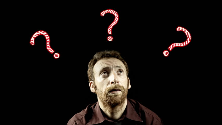 A lost doubtful man surrounded by animated question marks. Symbolic shot. Psychology, decisions, doubt.    Shutterstock HD Video #18220273