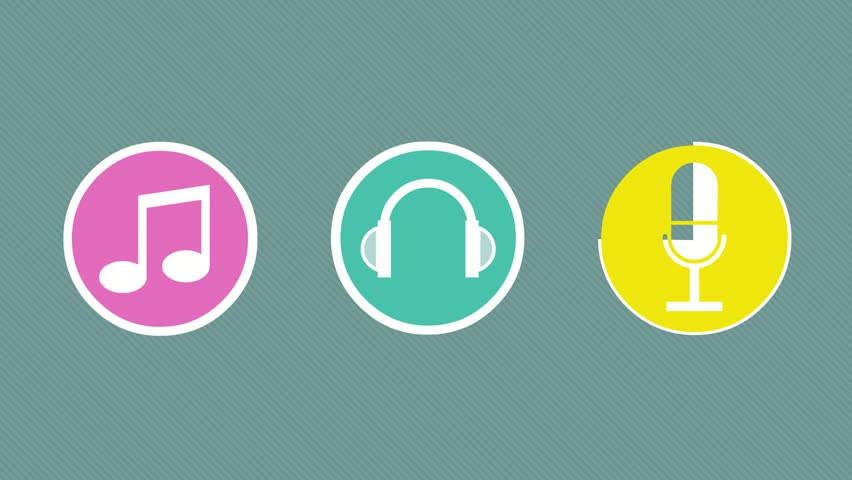Rotating headphones animated sound waves stock footage video three musical symbol on a colorful background pink circle with the image of the note sciox Gallery