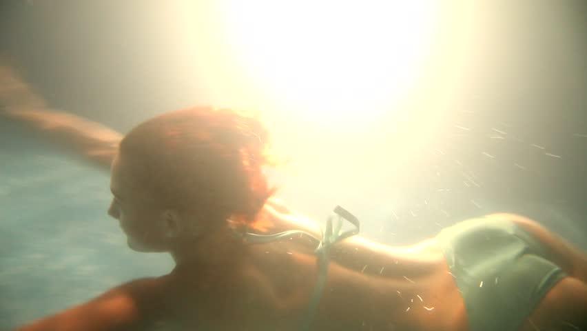 beautiful girl is under water | Shutterstock HD Video #18283324