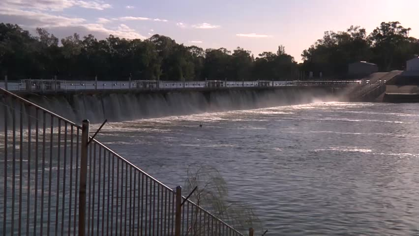 Mildura weir near Lock 11 on the Murray river in late afternoon.