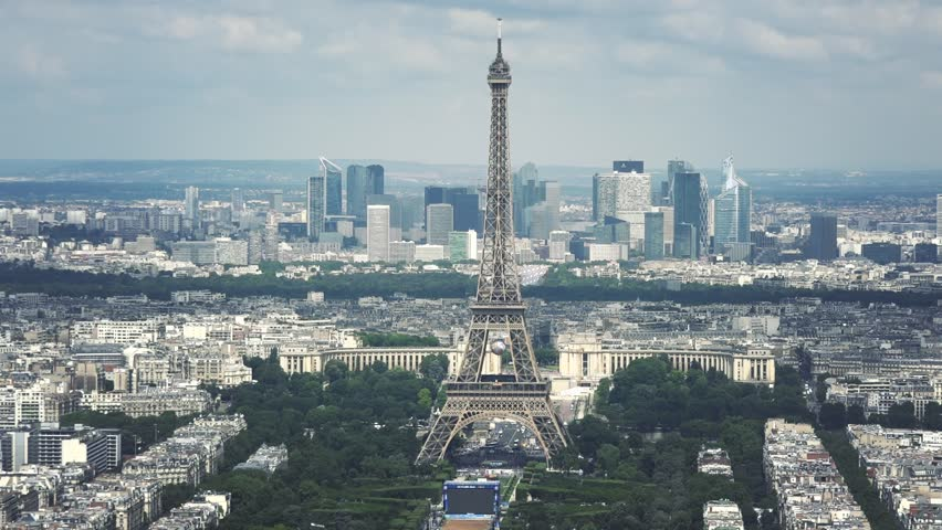 Cinematic Eiffel Tower Aerial Shot, Paris. The Montparnasse Tower Panoramic Observation Deck has the most beautiful view of Paris. | Shutterstock HD Video #18294523