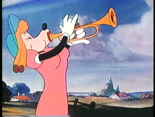 Cartoon of wolf dressed in women's clothing playing the horn