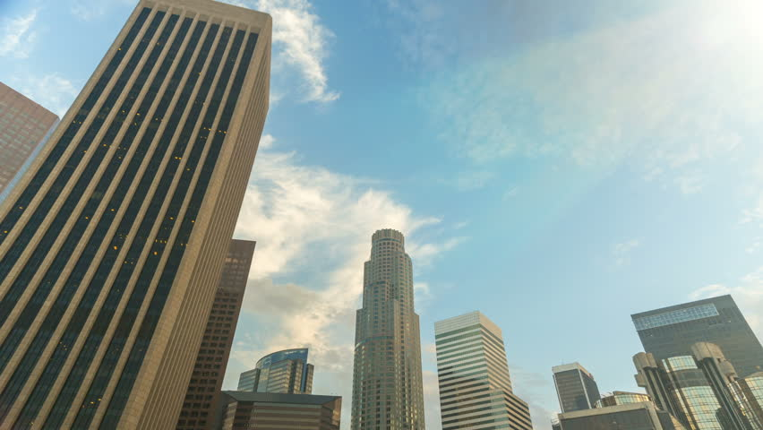 Tilting DTLA Time-lapse. Moving time-lapse of downtown Los Angeles as the camera tilts down from the skyscrapers. | Shutterstock HD Video #18306493