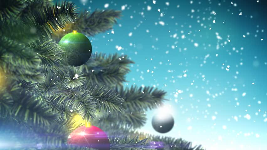 Christmas tree on blue background loop