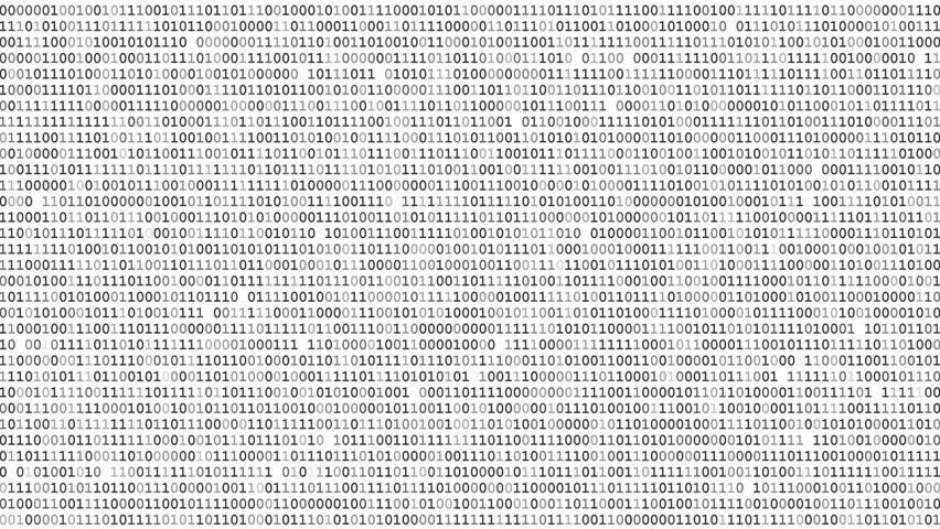 Twinkle binary code screen static listing table on black background