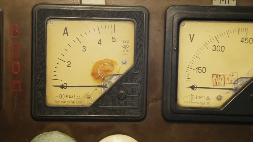 Antique Electrical Measuring Instruments : Old industrial electronics gauge instruments close up of