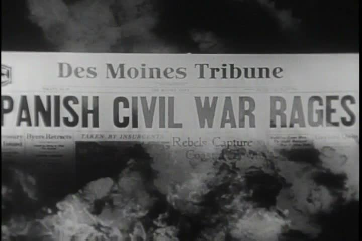 Newspaper headlines show breaking news about Mussolini, Pearl Harbor and the Nazi invasions at the beginning of WWII. (1950s)