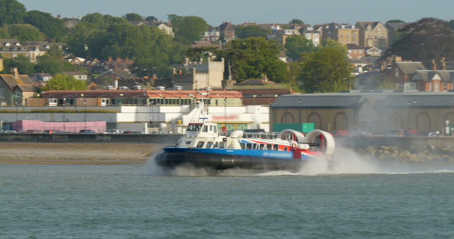 Hovercraft boat depart from the beach in Ryde, Isle of Wight