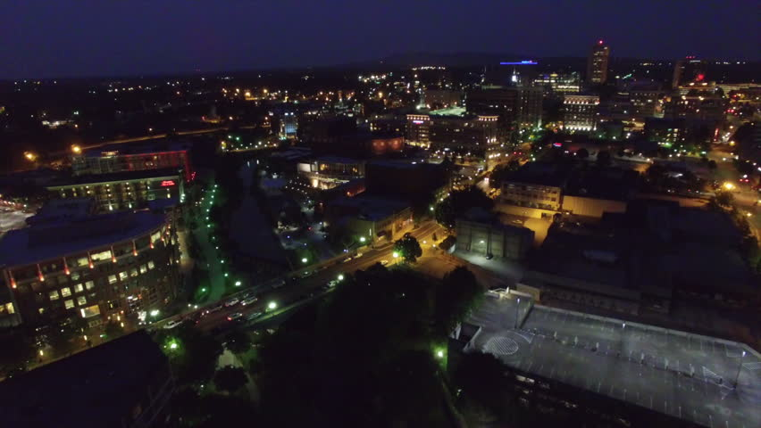 Night aerial flying over Greenville South Carolina | Shutterstock HD Video #18400003
