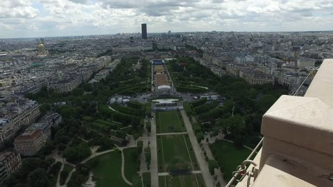 Panorama of the centre of paris filmed in 4K from the second tier of the Eiffel tower