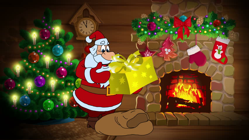animated new year card in german with santa claus and new year gifts frohes neues jahr