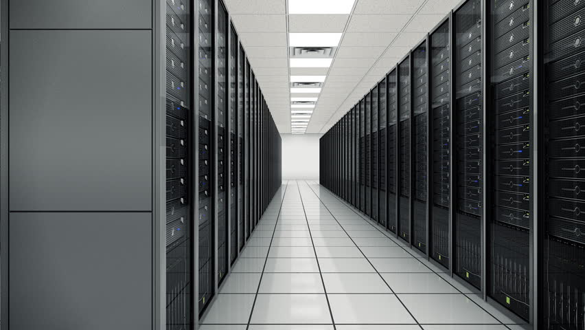 Seamlessly looping animation of rack servers in data center | Shutterstock HD Video #1845043