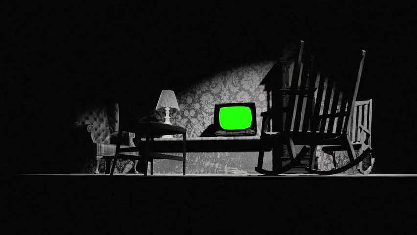 Zoom to TV (Green Screen) on old livingroom. Zoom a televisión en viejo salón (pantalla verde)