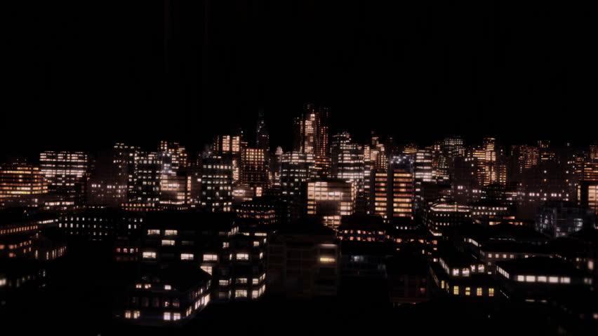 Flying Through City at Night