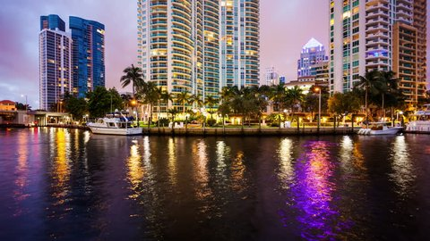 Fort Lauderdale, Florida Skyline at Night on New River - Time Lapse