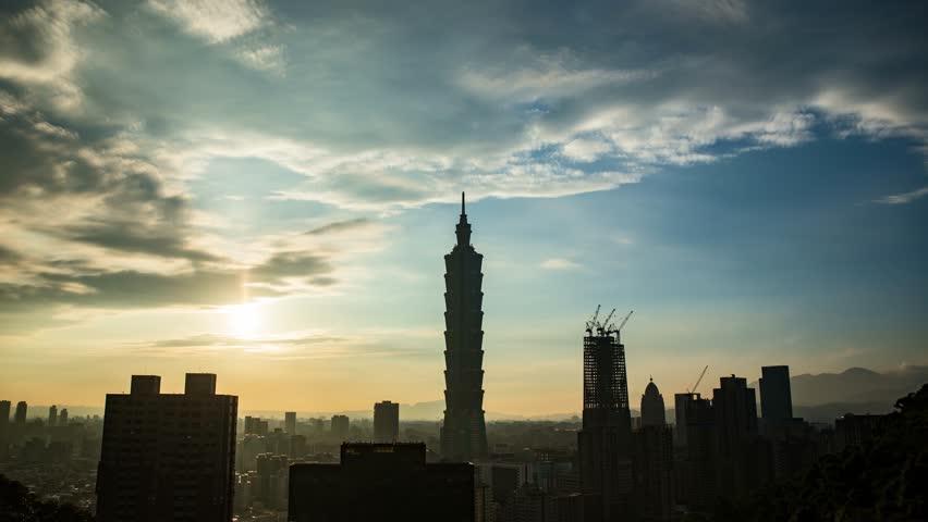 CITY SKYLINE AT SUNSET - TAIPEI, TAIWAN- 5 MAY 2016: Taipei 101 building