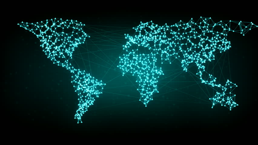 Social network connection. Connecting people on the internet, nodes transforming into the shape of a world map. Green version. Also available in orange. 4K