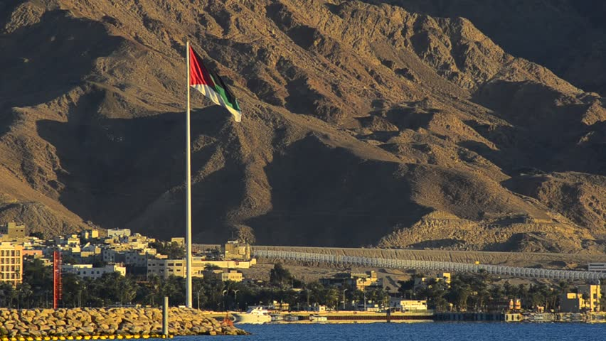 The Great Arab Revolt Flag in Aqaba, Jordan was erected to commemorate the Arab Revolt of 1916 against Ottoman Empire, the flag is the biggest one in the Middle East | Shutterstock HD Video #1854583