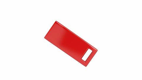 Slide usb flash drive on white background