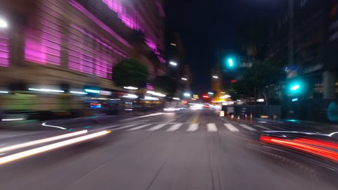 Hyperlapsed view from a car at night. POV. Downtown, Los Angeles, United States. Perfect to represent concepts as autonomous driving, futuristic cityscape, city life, etc.