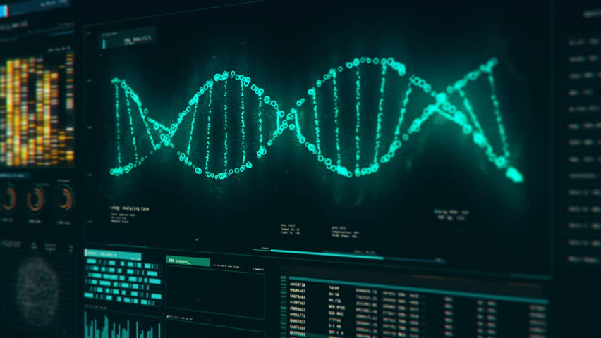 Analysis of DNA structure, molecules rotating on screen, genetic modifications. DNA molecules analysis, biochemistry, statistics in graphs and charts
