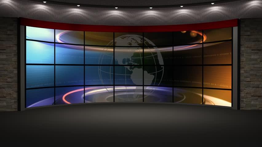 News Tv Studio Set Virtual Green Screen Background Loop