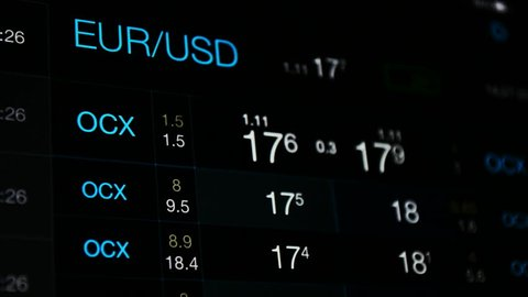 Currency exchange, euro vs dollar rate  white numbers on the black  background of currency exchange board  eur/usd abstract rate, forex, stock  market, global economy concept  money abstract background