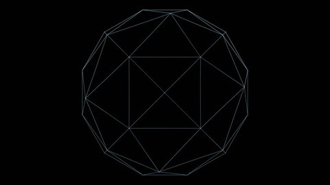 Retro 3D Vector Poly Ball. Wireframe of a rotating polygon ball with holographic flicker and chromatic aberration for screen replacements and simulation.