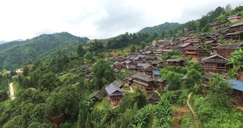 UAV aerial view of Chinese traditional tile-roofed house in Guizhou, China