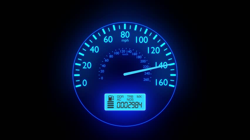 Speedometer fast car automobile speed dashboard accelerate mph kph light 4k