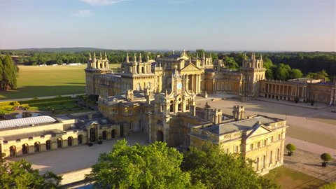 Aerial view flying over the Great Court at Blenheim Palace