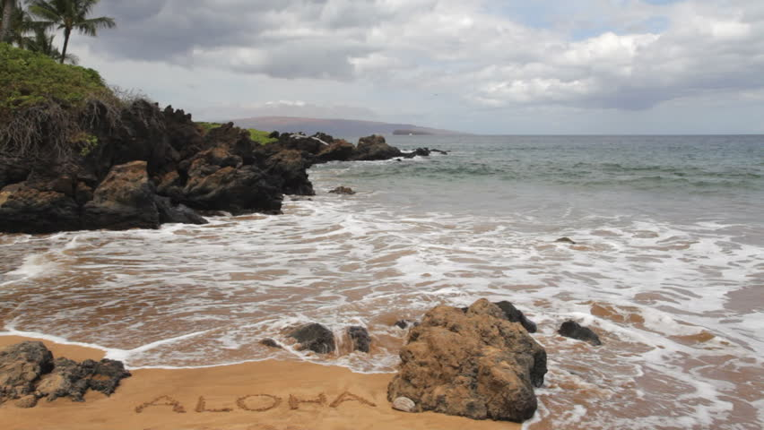 Aloha Written In The Sand Of Po Olenalena Beach Also Known As Love Keauhou Pepeiaolepo Paipu And Makena Surf