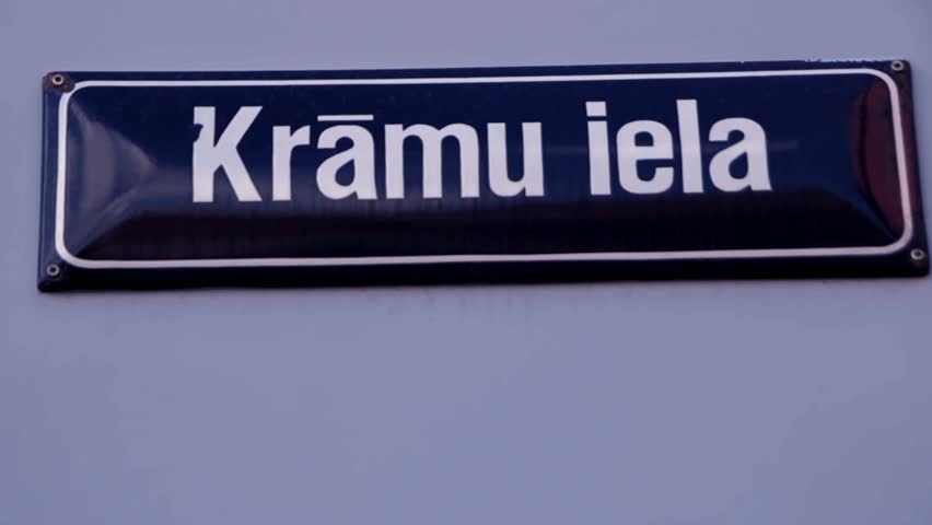 Kramu Street Sign Riga Latvia | Shutterstock HD Video #18736103