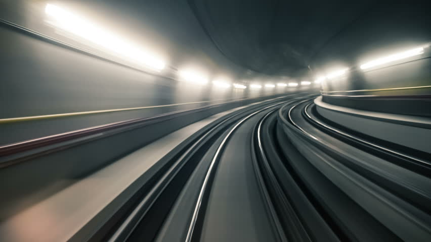 Fast underground train riding in a tunnel of the modern city #18847553