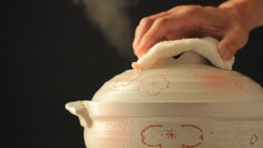 Close up shot of Japanese cooking pot