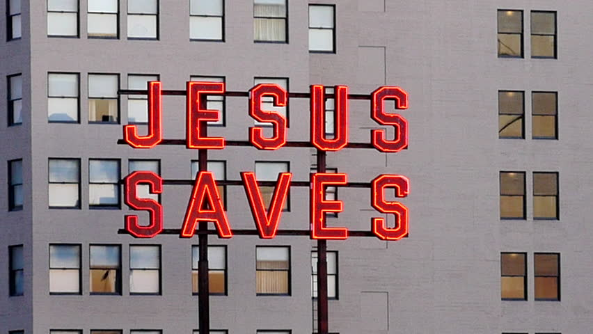Rooftop Neon Jesus Saves Sign - Los Angeles - Circa August 2016 | Shutterstock HD Video #18908483