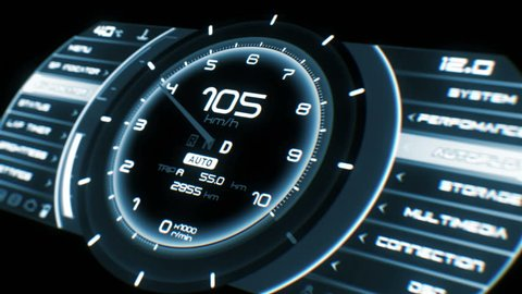 Ultra high quality footage of futuristic car interface with speed,distance,gear and tachometer indicators.Electric car interface with autopilot,multimedia player functionality.Easy to loop.UHD,HD,1080