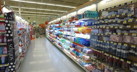 MONTREAL, CANADA - AUGUST 2016: Cosmetics Department At Walmart - Smooth Steadicam Display (4k UHD 4096 x 2160)