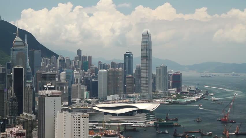 Aerial shot of Hong Kong city skyline - Central District, Victoria Harborand Hong Kong Island, Hong Kong. | Shutterstock HD Video #18960623